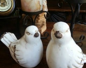 Large White Ceramic Doves- Pair
