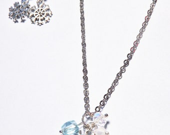 Snowflake Necklace with Crystals, Earrings for FREE! as a Frozen Snowflake Jewelry Set For Woman