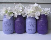 Painted and Distressed Ball Mason Jars- Dark Purple and Lavender-Set of 4-Flower Vases, Rustic Wedding, Centerpieces