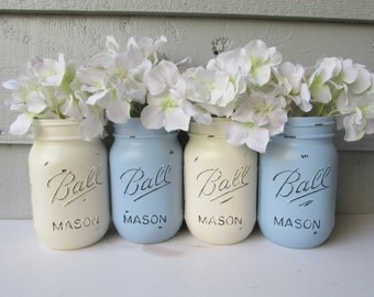 Painted and Distressed Ball Mason Jars- Light Blue and Cream/Ivory-Set of 4 Flower Vases, Rustic Wedding, Centerpieces