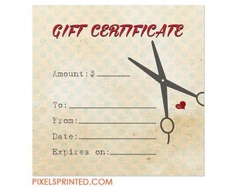 haircut gift certificate template - 4x4 hair salon or hairstylist gift certificates