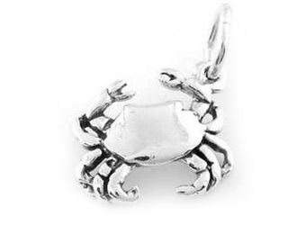 Sterling Silver Crab Charm (3d Charm)