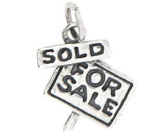 Sterling Silver For Sale Sold Sign / Realtor Charm (3d charm)