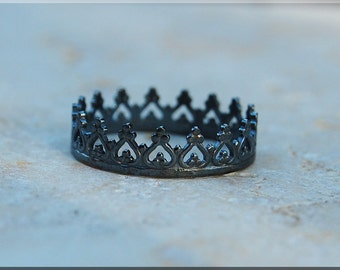 Black Princess Crown Ring, Oxidized Sterling Silver Stacking Ring, Silver Crown Ring, Royal Crown Ring, Princess Crown Stacking Ring