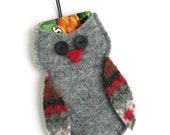 Christmas Gift Card Holder / Ornament - Felted Wool Gray Owl - Christmas Decoration  - Upcycled Recycled Wool Ornament - Christmas Owl