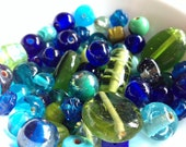 Czech glass bead mixture in blues and greens