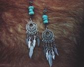 Howlite & Feathers Earrings