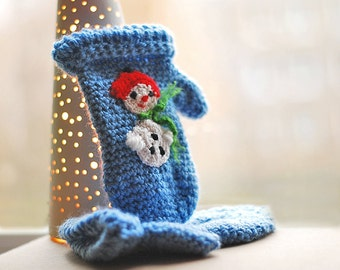 Snowman Gloves FOR KIDS Gift Wool Crochet Winter Girl Boy Teens Christmas Gift Gift Cozy blue white