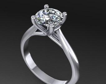 7.5mm forever brilliant moissanite engagement ring,14k white gold wedding ring,custom design rings,custom made rings, style 73WM