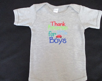 Thank Heaven For Little Boys Embroidered Onesie Bodysuit Sizes  0-3, 3-6, 6-12 and 12-18 months