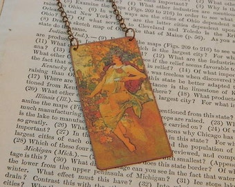 Mucha necklace Autumn Seasons Series mixed media jewelry