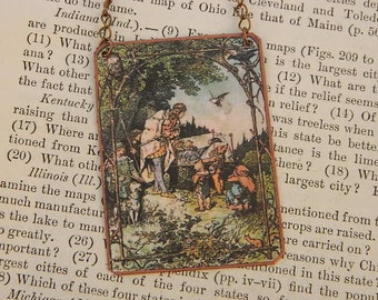 Fairy tale necklace Snow White  literature literary mixed media jewelry