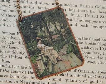 Art necklace Edmund Blair Leighton mixed media jewelry