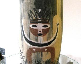 Decorative vase, hand decorated, ceramic vase, ethnic style, signed by artist