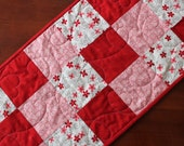 Valentine's Day Table Runner Red Pink Cream Quilted Hearts
