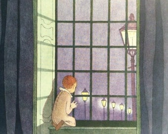 Vintage Childrens Book Illustration 1931 Robert Louis Stevenson Sleep Bedtime Lamplight Edwardian Window Nightime Nursery Home Decor