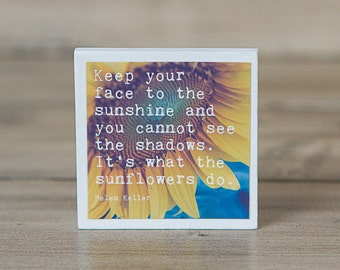 Inspirational Magnet | Helen Keller Quote | Sunflowers | Keep Your Face to the Sunshine | Photography | Neodymium | Blue Yellow White Art