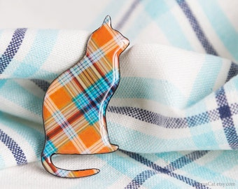 Orange blue plaid cat brooch, cat jewelry, cat accessories, plaid jewelry, animalistic jewelry, cat pin brooch, halloween,