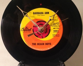 "Recycled BEACH BOYS 7"" Record / Barbara Ann / Record Clock"