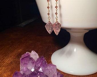Lepidochrosite pink quartz rhodolite rosary chain dangle earrings 14k goldfilled