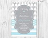 Baby shower boy blue and grey arrow, chevron, geometric printable invitation