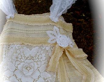 Whites N' Creams Flora Dora DressCrocheted Roses Shabby Chic Cowgirl Gypsy Girl Mori Girl Flirty Girl