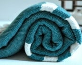 Hand Loomed Peshtemal Towel Woven Turkish towel for Beach and Bath Green ivory striped