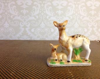 vintage ceramic doe fawn deer figurine japan