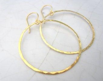 1 Pair Hammered Circle Earrings--50 mm--24k Gold Vermeil