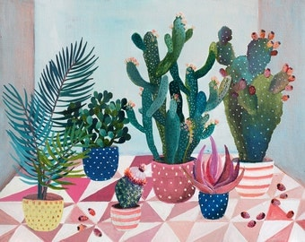 Cactus pear garden  - illustration - giclee print