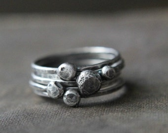 Sterling Silver Stacking Ring Set with Recycled Silver Pebbles
