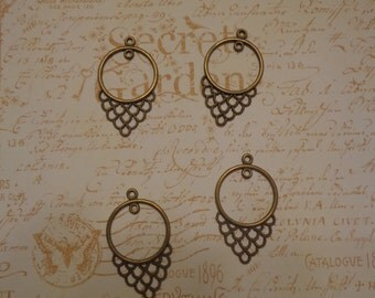 Antique Brass Tone Chandelier Earring Component with Middle Loop, 4 Pieces