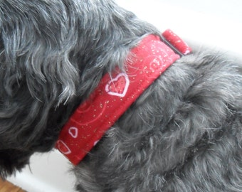 Red dog collar with matching leash - adjustable, hearts, red and white, custom sizes