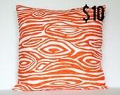 Orange Modern Woodgrain Faux Bois Pillow Cover - 18 x 18 Decorative Pillow Cover