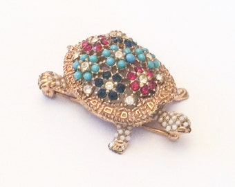 Ciner Pin or Brooch, Turtle, Turquoise, Rhinestone, 1950s Vintage Jewelry, Gift for Her SPRING SALE