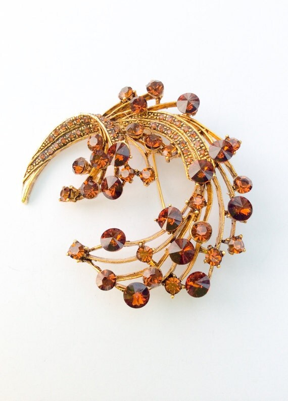 Rhinestone Brooch Amber Spray 1950s Vintage Jewelry