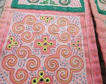 SALE, Vintage Hmong Fabric, handmade tapestry textiles, hill tribal fabric