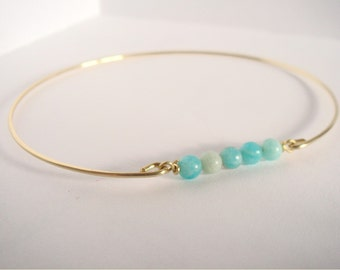 Natural amazonite beads bangle - Amazonite beads bracelet - Gemstone bangle - Yoga jewelry - Heart and throat Chakras