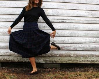 Vintage, Wool Skirt, Pleated Wool Skirt