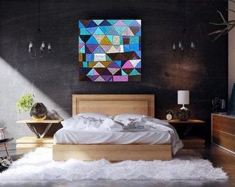 ARLECCHINO - ORIGINAL - Abstrakt OIL on canvas palette knife - 90cm x 90cm - 35,4'' x 35,4'' - blue purple turquoise brown