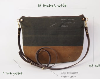 Waxed Canvas Cross Body Bag - NEVIS -  Zip Top Forest Green and Tan Adjustable Leather Shoulder Bag Leather Shopper Bag by Holm