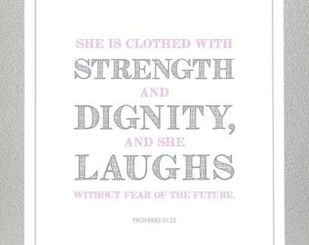 Girl Baptism gift - Purple and Gray - Proverbs 31:25  - Print