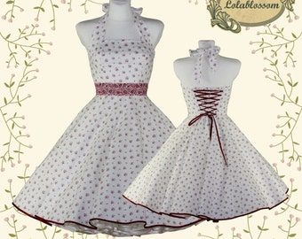 50's vintage dress Tailor Made off white creme with little roses Valentine Doris dress