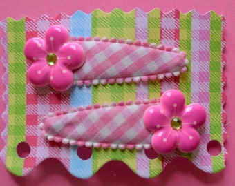 Hair Accessories - Handmade -  2 Pink Gingham Covered Snap Clips - Embellished With Pink Rhinestone Flower
