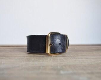 Black Leather Cuff - Black distressed genuine leather, brass buckle,  mens accessories, wedding