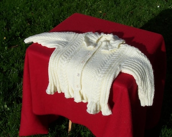 """HAND KNITTED """"Cables and Frills"""" Cardigan. (Ready to Ship) One Only."""