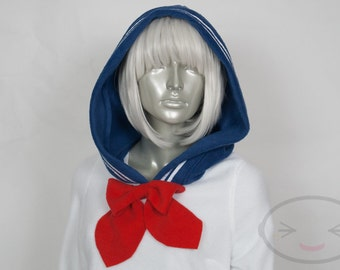 White and Navy Sailor Hoodie