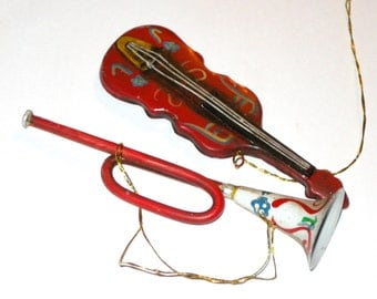 2 vintage metal painted Christmas ornaments musical instruments