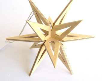 Snowflake Ornament, 3D Wood Ornament, Three Dimensional Wooden Star, Christmas Ornament, Scroll Saw Holiday Decoration