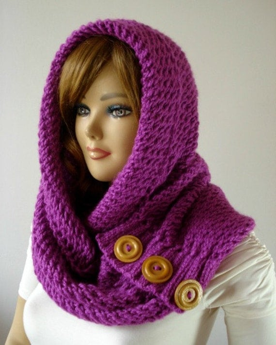 Knitting Pattern Infinity Scarf Straight Needles : KNITTING PATTERN HOODED Cowl Scarf LouLou Kiss Hood scarf